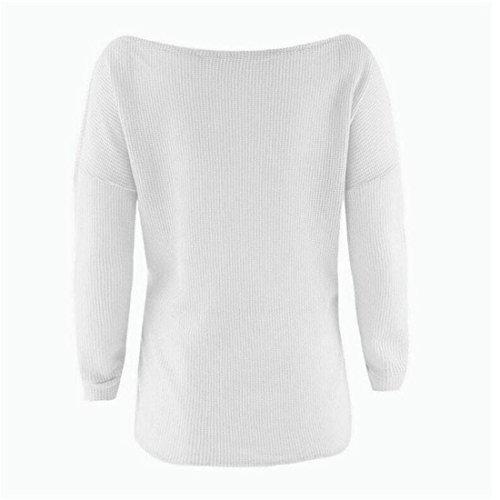 Femmes Sexy Blanc Col V À Manches Longues Pulls Mince Chandail Lâche Un Top Épaule Jumper Pour Automne Blanc