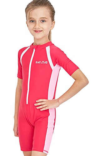 HaoLian Girls Shorty One Piece Floating Swimsuits UPF 50+ Rash Guard Swimming Costume for Water Sports Age 3-14 Years