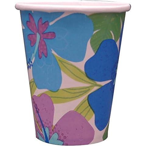 8 gobelets en carton Fleurs Paradis Tropical Bleu
