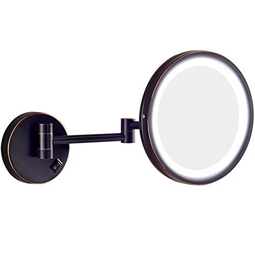 Ysayc luce a led interruttore specchio per il trucco montaggio a parete singolo lato piazza estensione rasatura illuminato bellezza rotazione libera a 180° vanity mirror, nero, 10inch