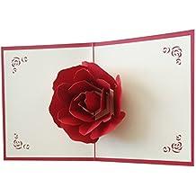 osunp Big rosa 3d Pop Up Tarjetas de felicitación fantástico flores hecho a mano Tarjeta de regalo origami y Kirigami para el día de San Valentín cumpleaños aniversario invitación boda amor Regalos