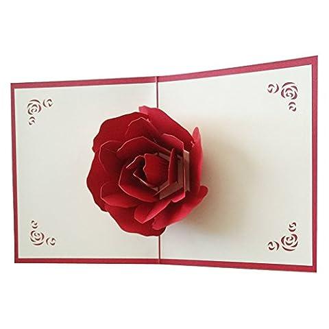 Osunp Big Rose 3d Pop Up Cartes de vœux Fantastique Fleur faite à la main carte cadeau Origami et Kirigami pour la Saint Valentin Anniversaire anniversaire d'invitation de mariage Amour cadeaux