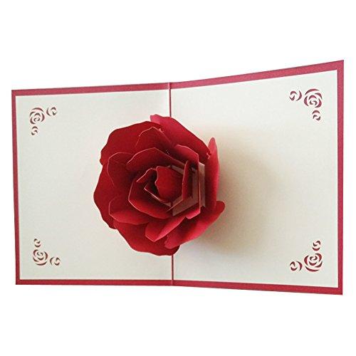 osunp Big Rose 3D Pop up Grußkarten Fantastische Blumen handgefertigt Geschenk Karte Origami & Kirigami für Valentinstag Geburtstag Jahrestag Einladung Hochzeit Love - Pop-up-karten Halloween Machen Zu