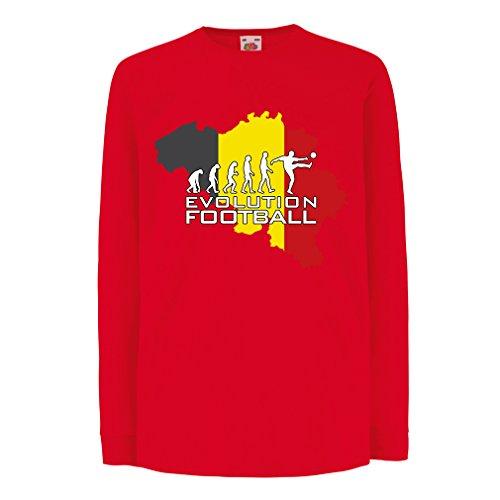 Kinder-T-Shirt mit Langen Ärmeln Evolution Fußball - Belgien, Die belgische Flagge (12-13 Years Rot Mehrfarben)