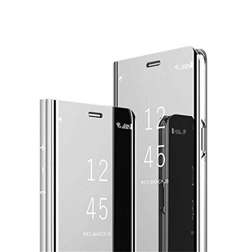 COTDINFOR Huawei Honor 10 Lite Funda Espejo Ultra Slim Ligero Flip Funda Clear View Standing Cover Mirror PC + PU Cover Protectora Bumper Case para Huawei Honor 10 Lite Silver Mirror PU MX.
