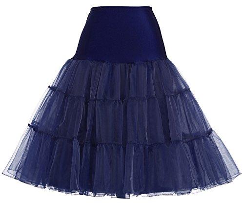 KekeHouse® Damens 50s Retro-Stil Unterkleid Schwingend Unterrock Marineblau