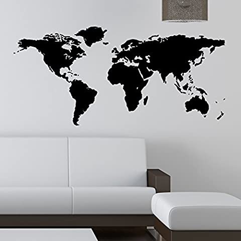 Mapa del mundo adhesivo de pared para pared adhesivo adhesivos, vinilo auto-adhesivo, negro, Xtra Large 150 cm x 75
