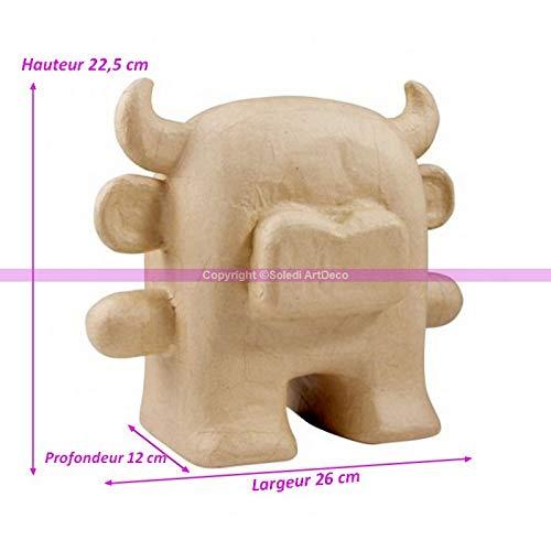 Decopatch Taureau en Papier mâché, Animal à Cornes de 22,5x26x12cm, à customiser