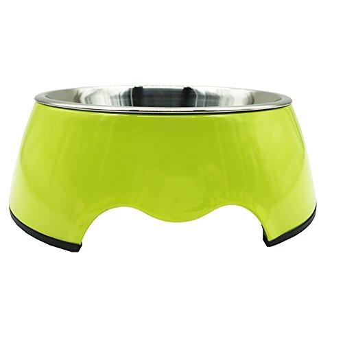 Melamin-Napf Rutschfest Edelstahlnapf mit Gummiring Fressnapf für Hunde Katzen - Abnehmbarer Futternapf Wassernapf Welpennäpf Schüssel Hell Grün M