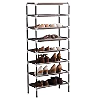 AcornFort® S-113 8 Tiers Adjustable Shoe Storage Shoe Rack Organiser Shelf Hold Stand for 24 Pairs Shoes, Using Thickened Electrophoresis Tubes, Sturdy & Space Saving, Easy Assemble