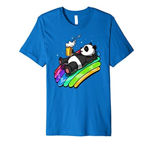 Panda Bär Trinkt Bier Regenbogen Party Frauen Männer Shirt