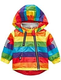 Keephen Kinder Wasserdichte Regenjacke Regenbogen Kapuzenjacke Übergangsjacke Winddichte Wanderjacke Outdoor