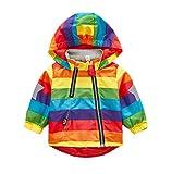 Keephen Kinder Wasserdichte Regenjacke Regenbogen Kapuzenjacke Übergangsjacke Winddichte Wanderjacke Outdoor Jacke Kapuzenjacke Farbe100cm