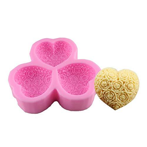Lembeauty Love Theme Rose Cuore Modello DIY Stampo in Silicone Sapone Handmade Pudding Mold Fondant Cake Chocolate Silicone Mold Sposa e Sposo Shape Candela Gesso Mold (Colore Casuale) E