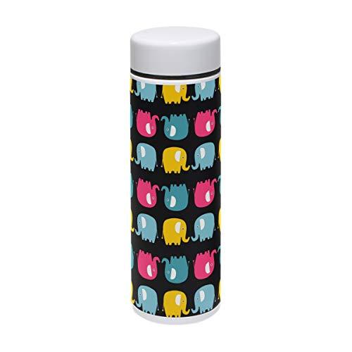 Lafle - Taza térmica de silicona de grado alimenticio con diseño de elefantes y silueta de colores divertidos, taza con tapa de rosca de 220 ml