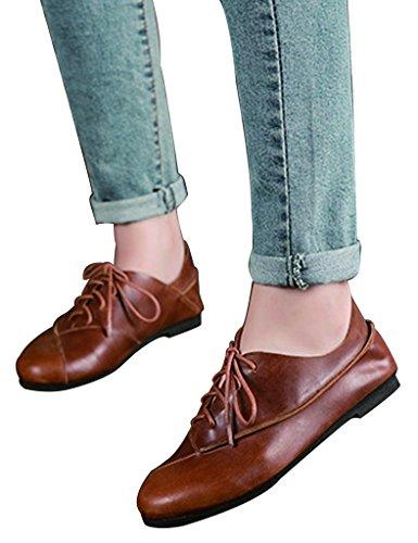 Youlee Femmes Fait Main Doux Bas Lacer Cuir Chaussures Marron