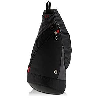 41gzsbR4t2L. SS324  - WENGER Premium Slingbag para hombres y mujeres, 10 L, Mochila Shoulder bag en negro / gris con forro interior gris
