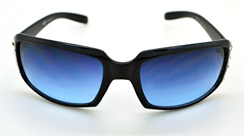 Vox tendance classique de haute qualité pour femme Hot Fashion Lunettes de soleil W/sans pochette en microfibre Black Frame - Blue Lens