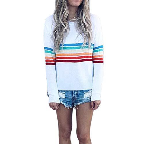 iHENGH Sweatshirt Damen,Women Herbst Mehrfarbig Gestreifter Druck Lange ÄRmel Casual Sweatshirt Top Bluse Pullover(Weiß,EU-38/CN-L)
