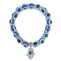 Hamsa Charm Blue Evil Eye Beaded Bracelet