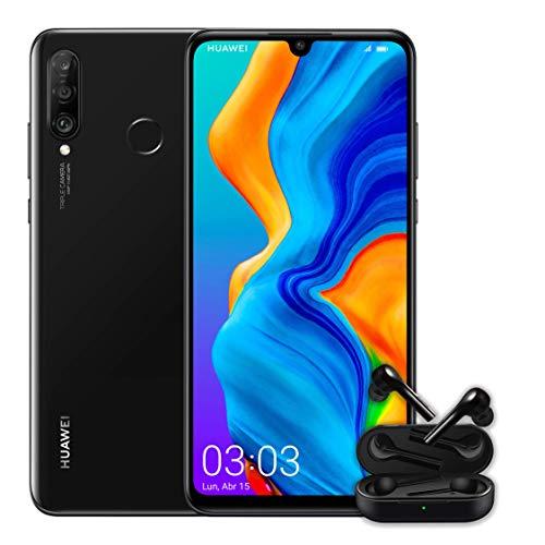 "Huawei P30 Lite + Huawei Free Buds -Smartphone de 6.15"" (WiFi, Kirin 710, RAM de 4 GB, memoria interna de 128 GB, cámara de 48 + 2 + 8 MP, Android 9), color negro"