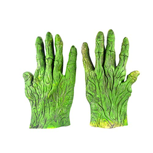 BESTOYARD Halloween Teufel Handschuhe Latex Grüne Riesenhandschuhe Horror Tierhandschuh Ganze Maskerade Halloween Cosplay Zubehör