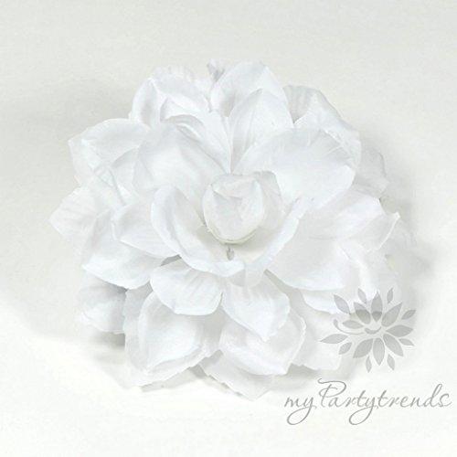 Ansteckblume, Haarblume Dahlie in weiß (Ø 13 cm; Höhe 4,5 cm) mit Krokodilspange und Anstecknadel von myPartytrends. (Haarblüte, Haarschmuck)