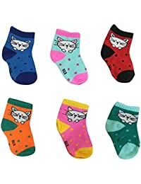 ShopCash Baby Cotton Socks (Assorted, 0-6 Months) for Babies (Multicolor, Packs of 6)