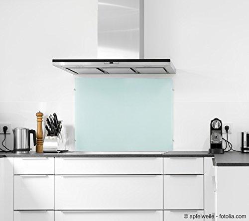 ECOfoxx 6mm ESG Glas Küchenrückwand Spritzschutz Herd Fliesenspiegel Glasplatte Rückwand viele Größen (Milchglas, 90x60cm)