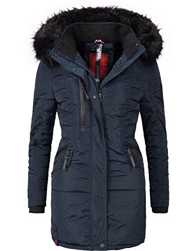 Navahoo Damen Mantel Wintermantel Steppmantel Eliya (vegan hergestellt) Blau Gr. M (Blau Mantel Jacke)