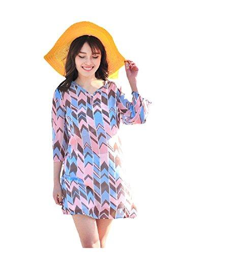 BOMOVO Damen Sommer Langarm Chiffon Celebrity Party Abendkleid Strandkleid Mini Kleid Rosa