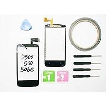JRLinco ParaHTC Desire 500D500 Dual SIM Pantalla de Cristal Táctil, Pieza de Recambio touchscreen glass display(Sin LCD) ParaNegro + Herramientas y Adhesivo de Doble Cara + Paquete de Limpieza