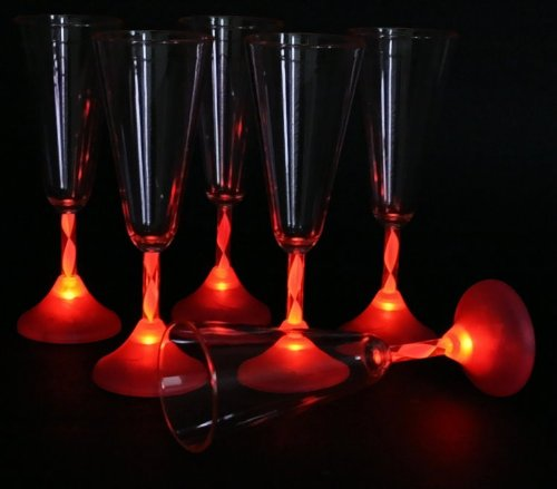 6x LED Champagner Gläser 180ml Sektglas Glas leuchtend Party rot