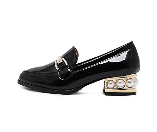 nine À Thirty 5Cm En Le Souliers Des Étudiantes Correspond KHSKX Des Noires 4 Printemps Chaussures Talons Grossiers A Hauts Hiver wftF7H