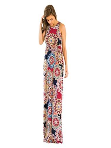 Honestyi Damen Maxikleider Sommerkleider Vintage Boho Blumen Kleid Neckholder Printkleider Partykleider Strandkleider Minikleid Große Größe S-XXL (L2, PLN-Rot)