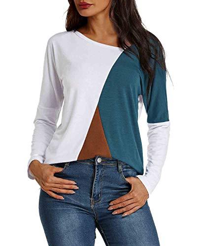 YOINS Sexy Schulterfrei Oberteil Damen Shirt Off Shoulder Top Pullover Damen Rollkragen Langarm Gestreift Pulli Lose Tshirt Hemd Weiß EU36-38  (Herstellergröße:M)