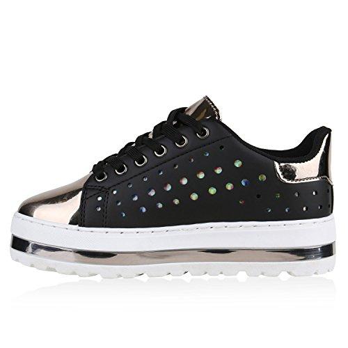 Damen Plateau Sneakers | Sneaker Metallic Cap | Lack Schuhe Blumen | Allyear Schuhe Velours Schleifen Schwarz Grau Metallic