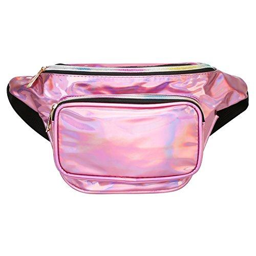 Promover Hologramm Wasserabweisend glänzend Neon Fanny Tasche für Frauen Rave Festival Bum Travel Waist Pack, Hellviolett