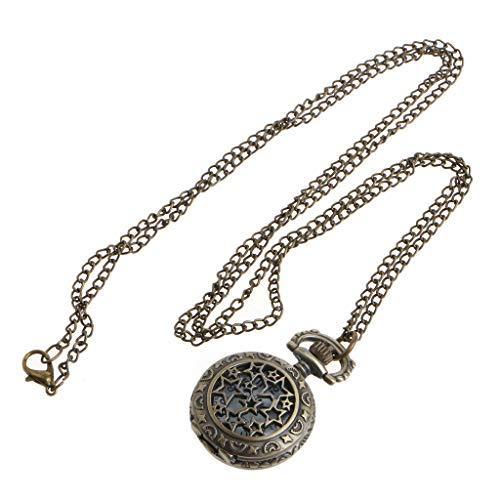 ESden Vintage Quarz-Taschenuhr Bronze Hollow Star Charm Halskette Anhänger Classic Schmuck Party Souvenir Geschenk Ornament
