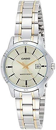 Casio Womens Quartz Watch, Analog Display and Stainless Steel Strap LTP-V004SG-9AUDF