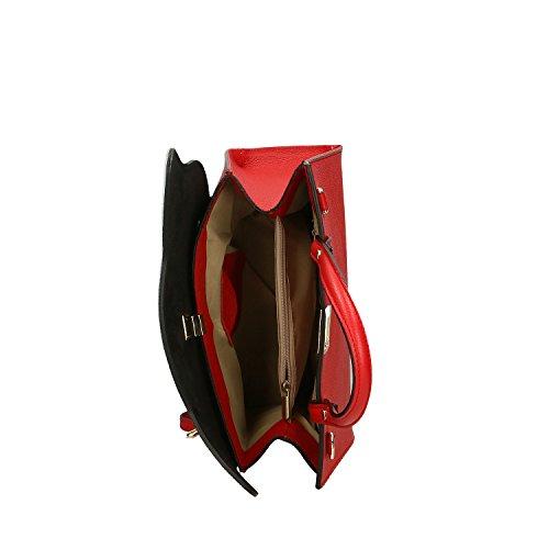 Chicca Borse Handbag Borsa a Mano in Vera Pelle Made in italy - 32x28x13 Cm Rosso - Beige Excelente Para La Venta Buscando En Venta Compras En Línea Con Mastercard La Venta 2018 Nueva IS8elTh