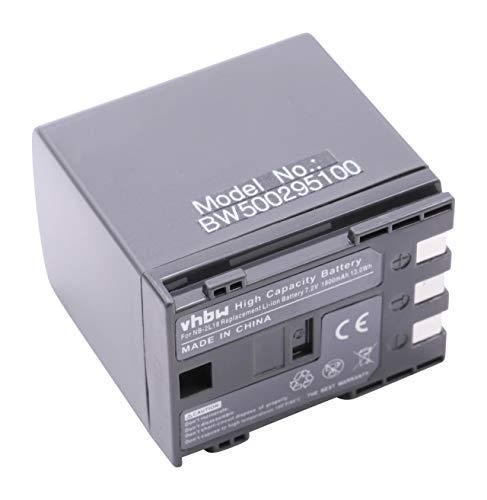 vhbw Akku 1800mAh (7.2V) für Kamera Canon HG10, HV20, HV30, HV40, ELURA MC(0), 40MC, 50MC, IXY DV3 Serien (JAN) wie NB-2L, BP-2L12, BP-2L13, BP-2L14. Elura Serie Camcorder