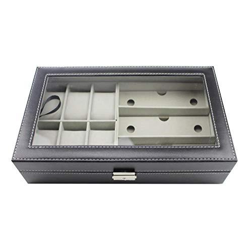 FIONAT Uhrenbox Schmuckkästchen Männer Und Frauen Leder 6 Uhr Aufbewahrungsbox Sonnenbrille Brille 3-Bit-Sammlung Display-Box, Schwarz