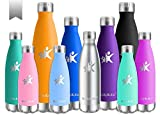 KollyKolla Vakuum Isolierte Edelstahl Trinkflasche, 750ml BPA Frei Wasserflasche Auslaufsicher, Thermosflasche für Sport, Outdoor, Fitness, Kinder, Schule, Kleinkinder, Kindergarten (Edelstahl)