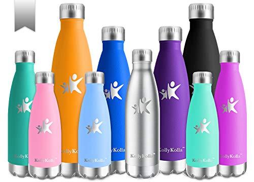 KollyKolla Vakuum Isolierte Edelstahl Trinkflasche, 500ml BPA Frei Wasserflasche Auslaufsicher, Thermosflasche für Sport, Outdoor, Fitness, Kinder, Schule, Kleinkinder, Kindergarten (Edelstahl)