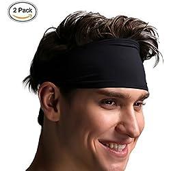 VIMOV Venda para Hombre - Sudadera deportiva para correr, ciclismo, yoga, baloncesto - Pelo elástico para la humedad, 2 paquetes Negro