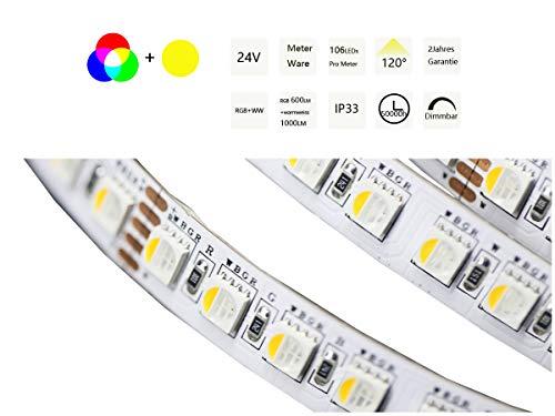 Ogeled 1-10m 4chips 4in1 5050 RGBWW LED Stripe Streifen superhell 112LEDs/m 24V (RGB+WW, 1m)