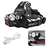 Best Bicycle Lights 5000 Lumens Rechargeables - Smart 3 LED Headlamp, Dual Adjustment 180-90 Degrees Review