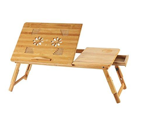 Folding Laptop Tischständer, Computer Bett Schreibtisch 100% Bambus mit Maus Plattform Faltbare Schreibtisch Notebook Tabelle 45 * 35 cm (Farbe : Without Fan)