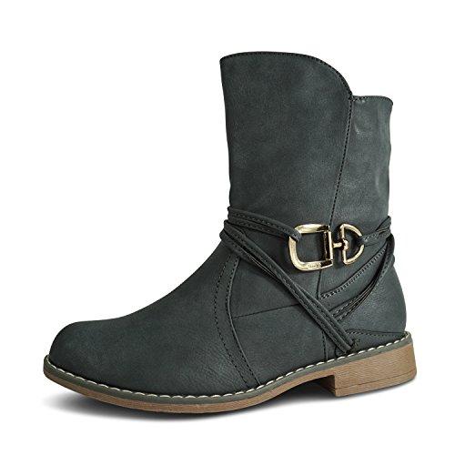 Schuhtraum Damen Schlupfstiefel Stiefeletten Stiefel Boots Gefüttert ST535 (40, Grau Warm Gefüttert)
